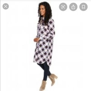 NWT Prana Plaid Flint Long Sleeve Dress/Maxi Shirt